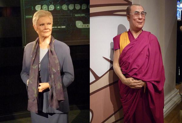 Judi Dench and Dalai Lama at Madam Tussaud in London
