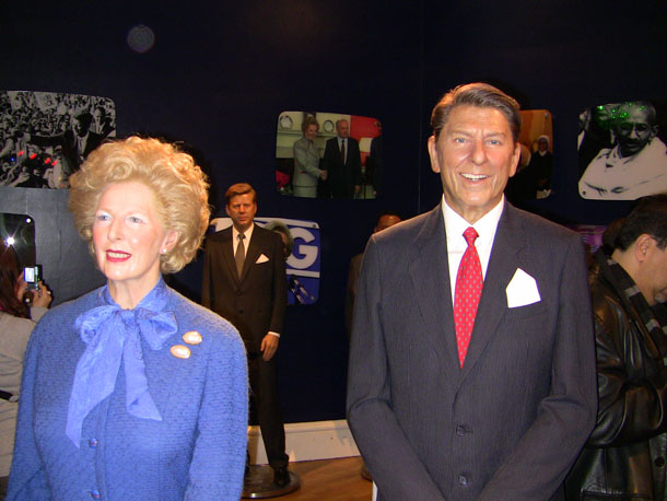 Margaret Tatcher and Ronald Reagen at Madam Tussaud in London