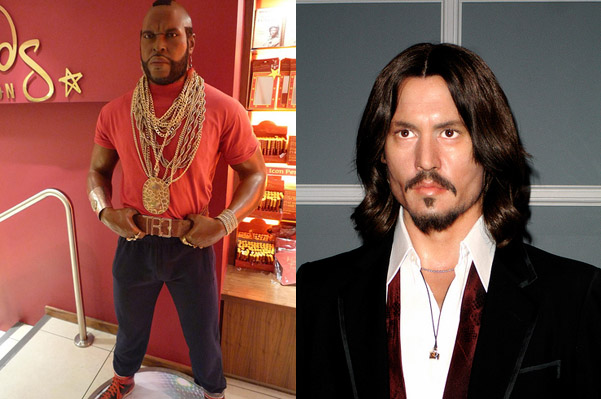 Mr. T and Johnny Deep at Madam Tussaud in London
