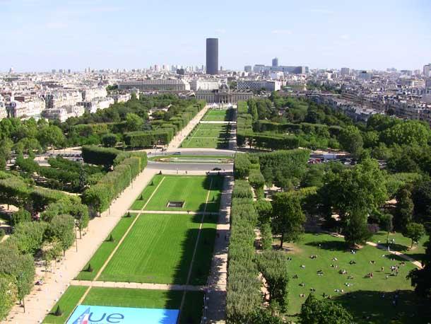 Park around the Eiffel Tower in Paris, France
