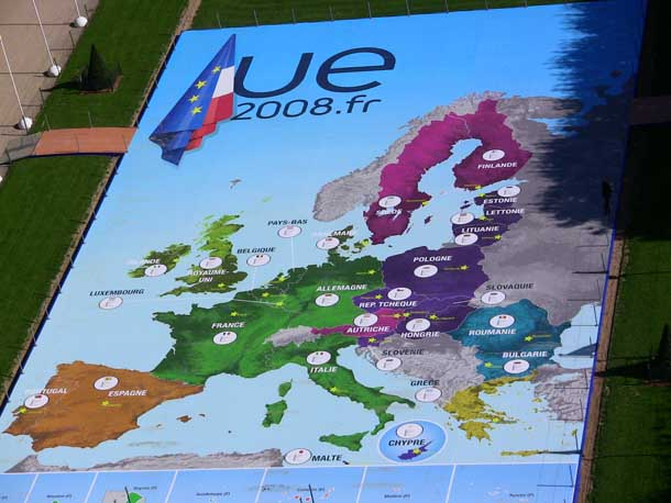 The EU map seen from Eiffel Tower