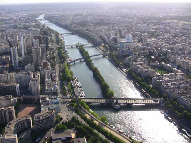 The Seine seen from the top of Tour Eiffel (Eiffel Tower)