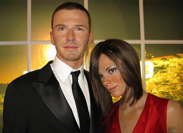 Victoria and David Beckham at Madam Tussaud in London