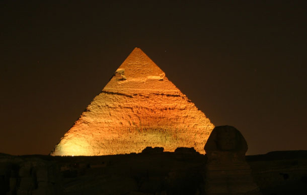 Egyptian Pyramid at Night