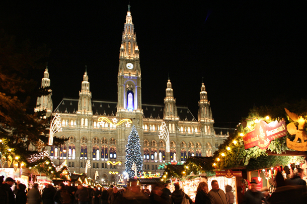 Town Hall in Vienna Christmas Market