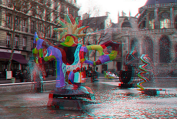 3D Sightseeing in Paris, France, Fontaine a Beaubourg