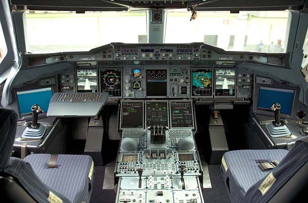 Pilot Cabin in Airbus A380, the Largest Plane in the World