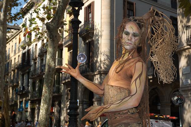 Artist on Las Ramblas Boulevard in Barcelona