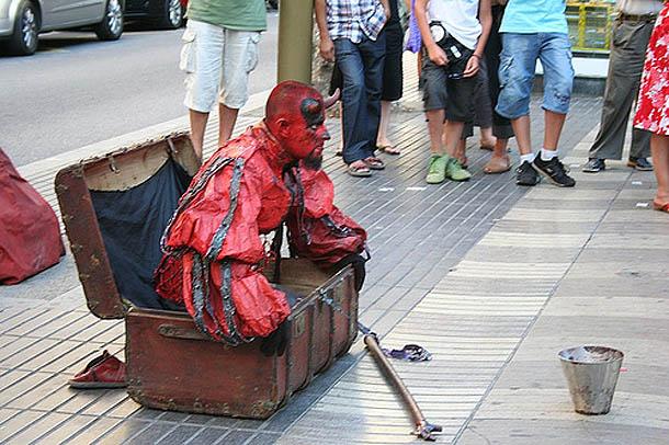 Devil Acting on Las Ramblas, Barcelona
