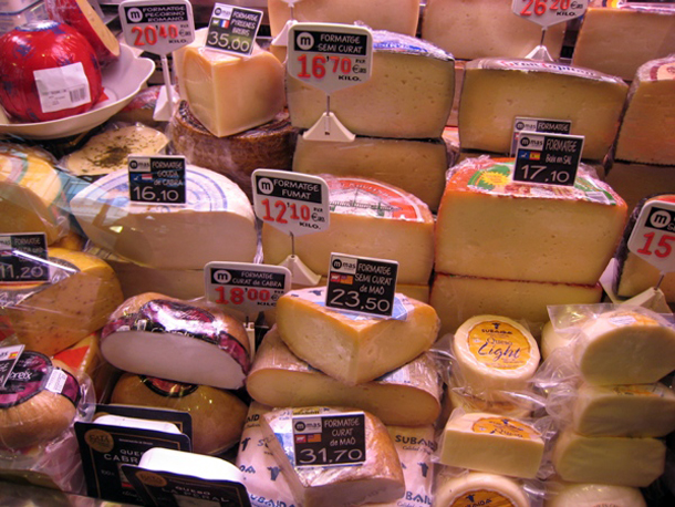 Different Types of Cheese at Boqueria Market, Barcelona