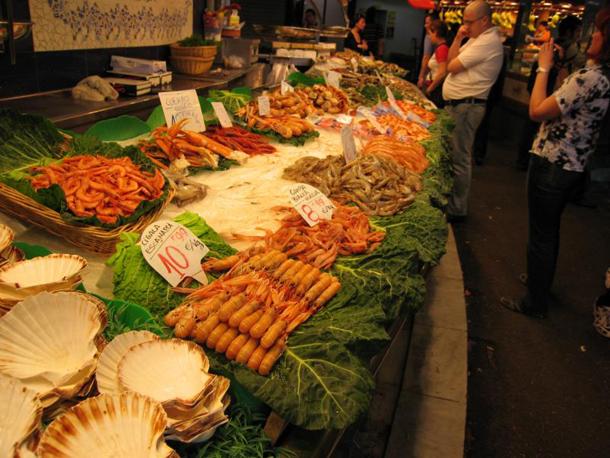 Different Types of Fish Sold at La Boqueria Market in Barcelona, Spain