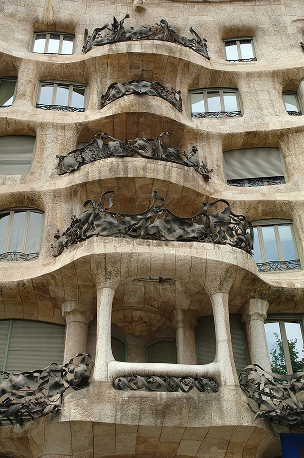 Front View of Gaudi's House, Casa Mila in Barcelona, Spain