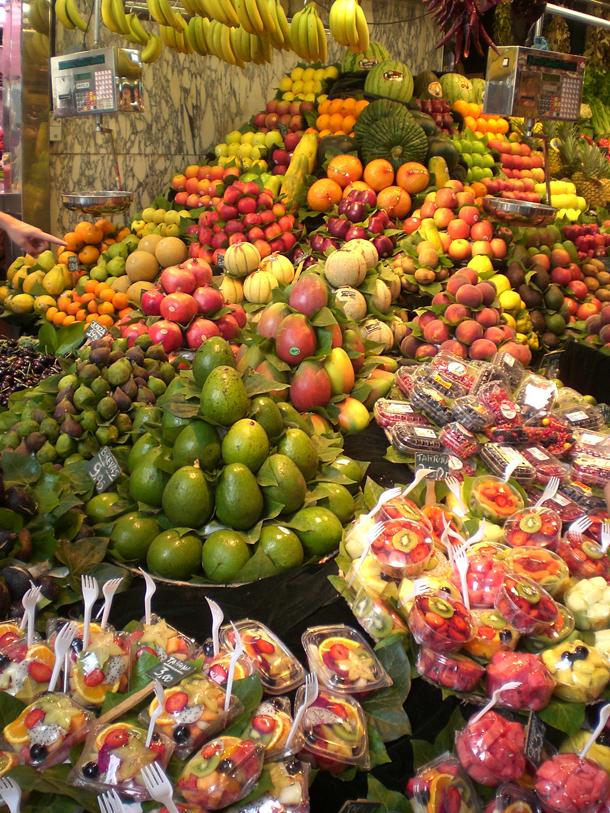 Fruit Stalls at La Mercat de la Boqueria, Las Ramblas