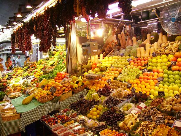 Fruit and Vegetables Stalls at Boqueria, Las Ramblas, Barcelona