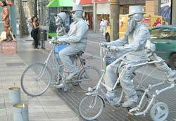 Live Artists on Bicycles on Las Ramblas, Barcelona