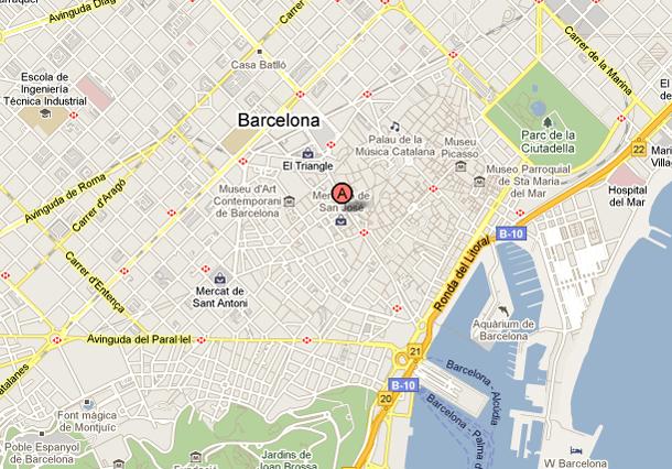 Mercat de la Boqueria Map, Barcelona, Spain