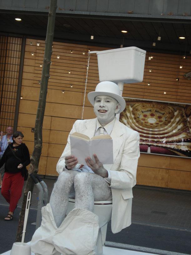 Toilet Performer on Las Ramblas, Barcelona, Spain