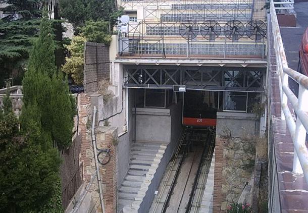 Montjuic Funicular in Barcelona, Spain