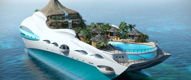 Tropical Island Paradise - The Floating Island Yacht - Source trendsnow.net
