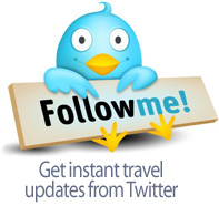 Get instant travel updates by following us ont Twitter